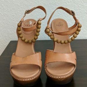 UGG Naima Platform Leather Sandal with Wood Beads